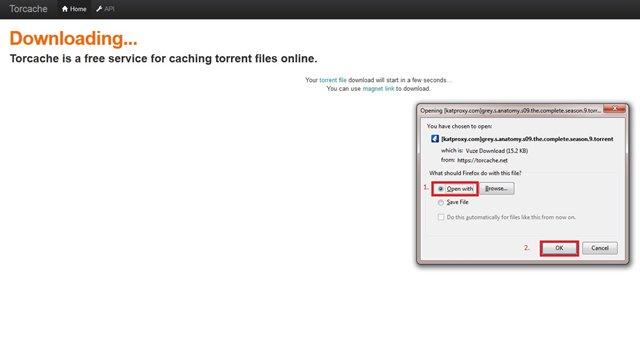 Potvrda skidanja torrent, klik
