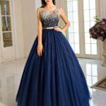Plava balska haljina bez rukava sa šljokicama na gornjem delu