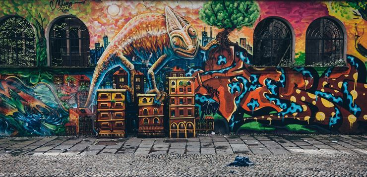 3d grafiti na zidu kuće - kameleon