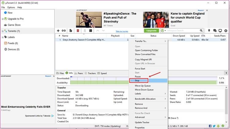 Kako skinuti film preko torrenta - gašenje