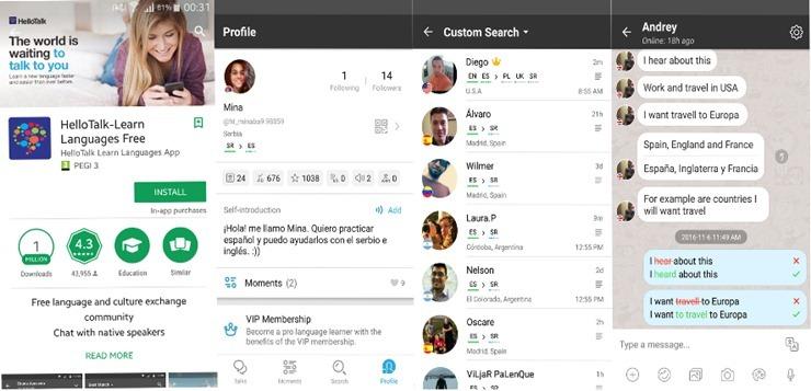 Ovako izgleda HelloTalk aplikacija za učenje stranih jezika
