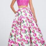 Dvodelna haljina roze boje sa cvetovima