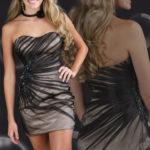 Kratka bež haljina od satena sa lepršavim crnim materijalom