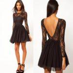 Kratka crna haljina sa dugačkim rukavima od čipke