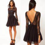 Kratka crna haljina za oblik tela obrnuti trougao
