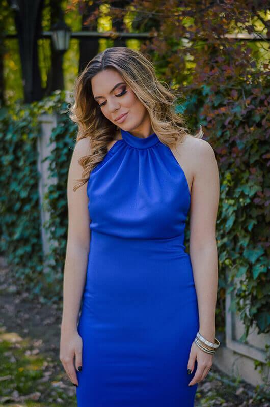 Aduti duga plava maturska haljina - haljina za maturu u plavoj boji