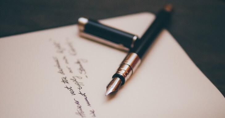 Pisanje pisma naliv perom