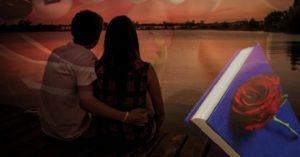 Vizual mladog para koji sede pokraj jezera i gledaju zalazak sunca